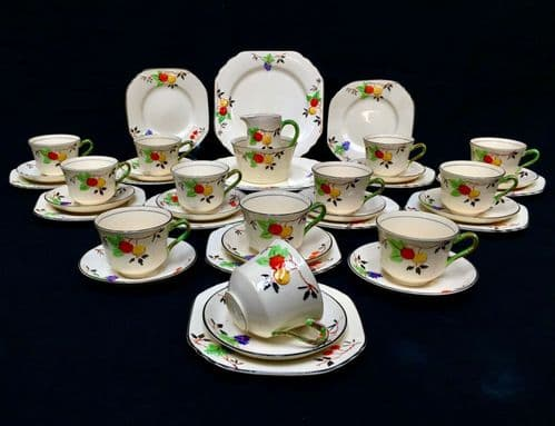 Antique Thomas Forester & Sons Phoenix Ware Blossom Tea Set for 12 People